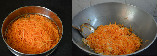 sauteing grated carrots