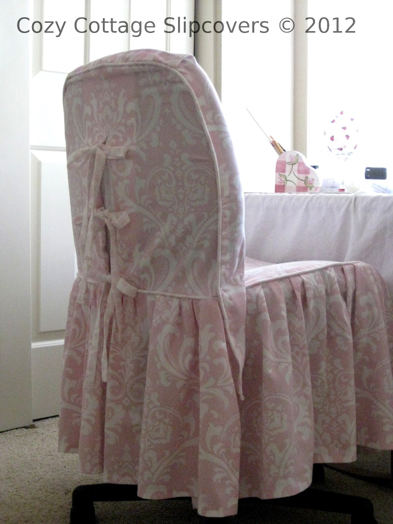 Cozy Cottage Slipcovers Pink Damask Office Chair Slipcover