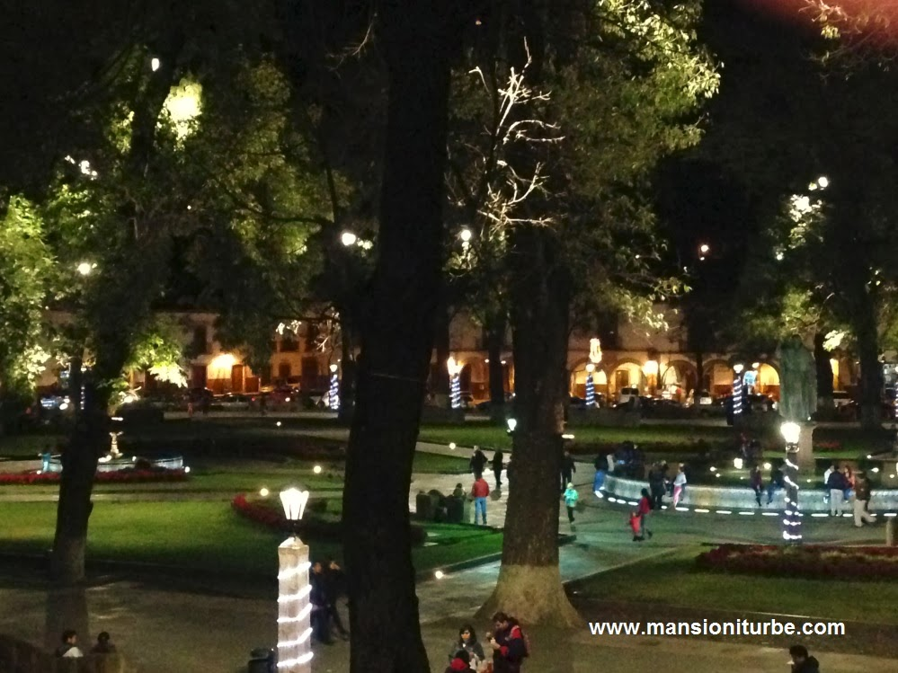 Plaza Vasco de Quiroga at Night during the Chirstmas Holidays in Patzcuaro