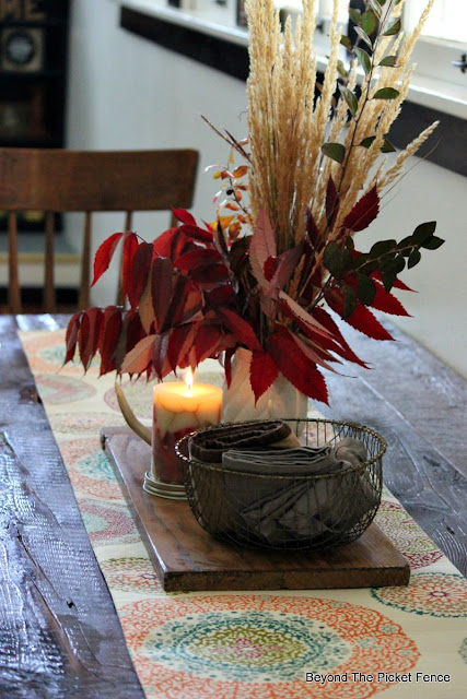 fall, autumn, decor, natural decor, candle, wire basket, http://bec4-beyondthepicketfence.blogspot.com/2015/09/ushering-in-autumn-bit-by-bit.html