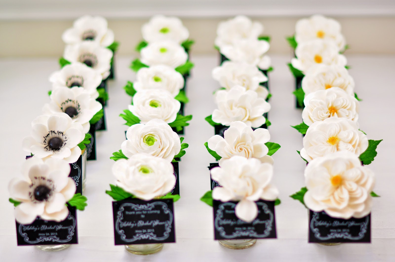bridal shower favors white and black theme
