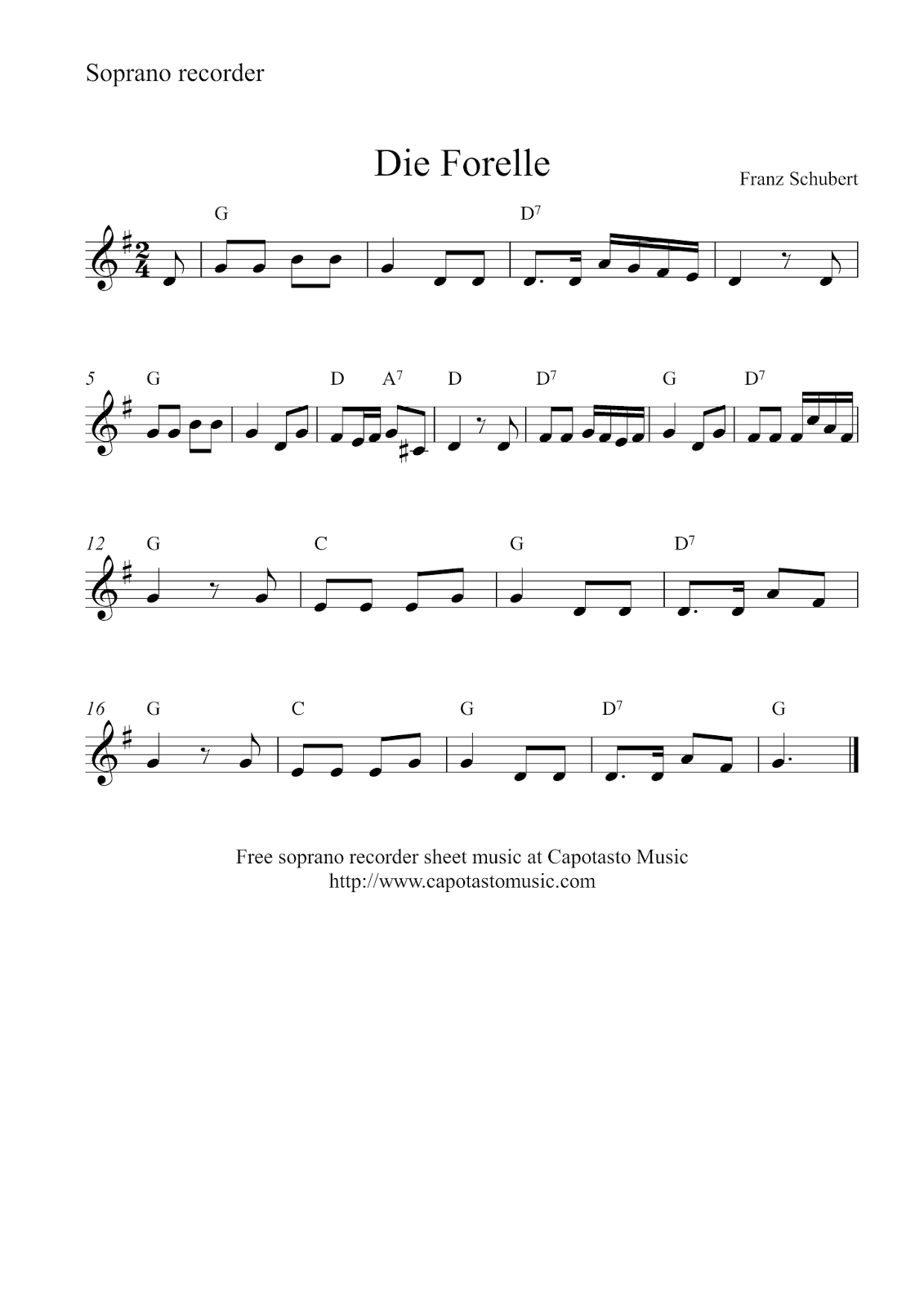 Free Easy Soprano Sheet Music, Die Forelle