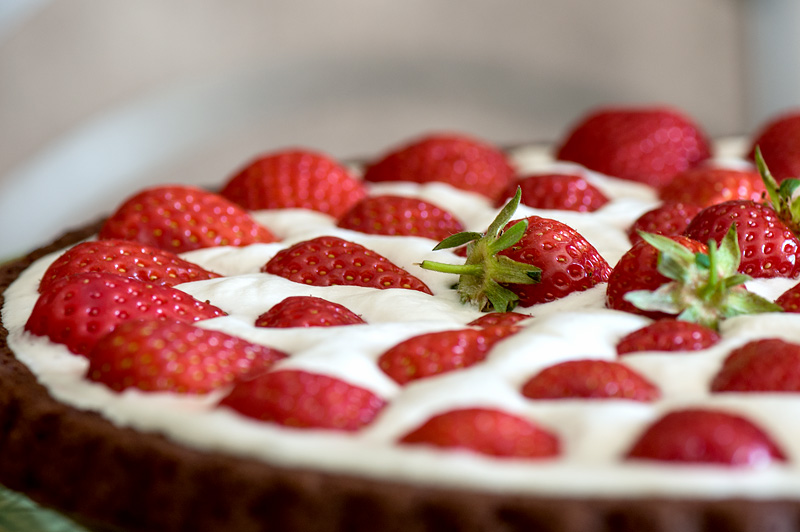 Vegan chocolate strawberry cocos cake close up