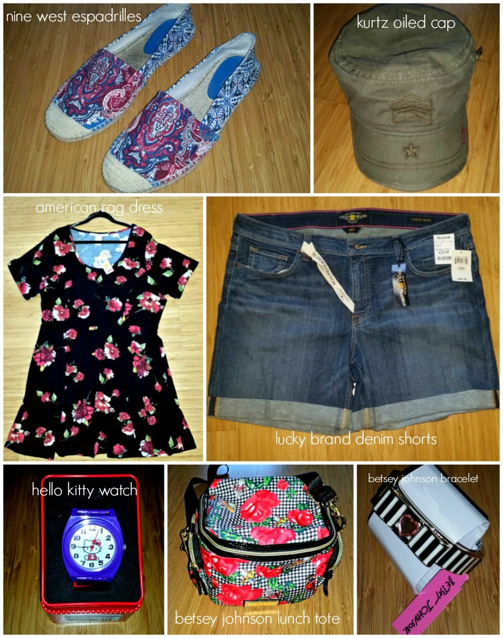 nine west, kurtz,american rag, lucky brand, hello kitty, betsey johnson, shoes, lunch bag, plus size dress, denim shorts, watch