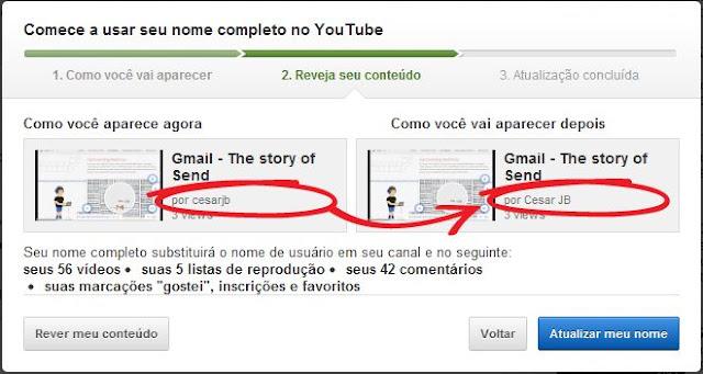 Troca de nomes dos usuários no Youtube