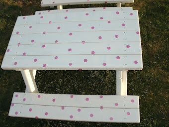 Creamy Polka Dot Table $95