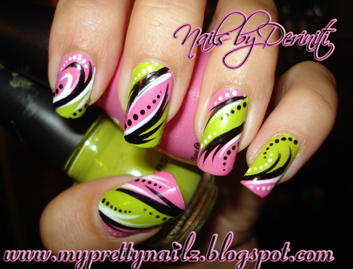 My pretty nailz bright pink green hand painted tribal nail art sinful colors pink forever sinful colors innocent kiss nail art paint in black white prinsesfo Gallery