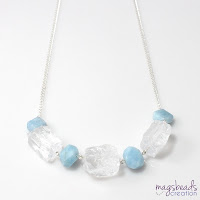 Chunky Quartz and Aquamarine Necklace - magsbeadscreation.com