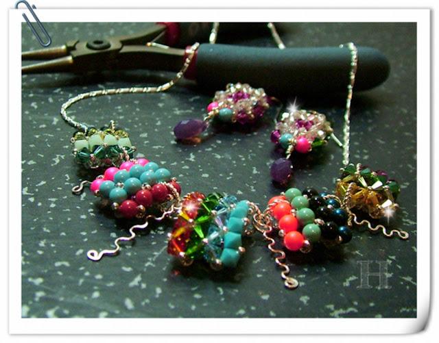 Squares of Deco handmade jewelry in RAW stitch