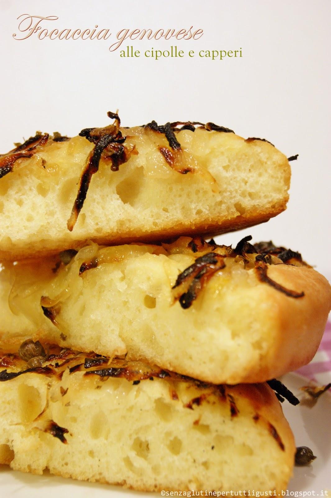 focaccia genovese alle cipolle e capperi con lievito madre senza glutine