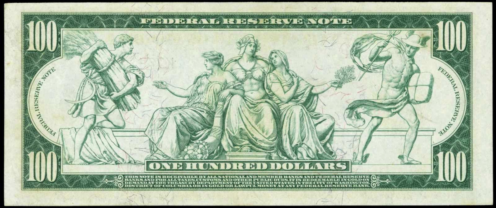 United States banknotes currency One Hundred Dollar Federal Reserve Note 1914