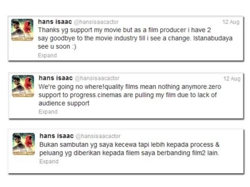 Twitter Hans Isaac Luahkan Kekecewaan Filem Tiada Sambutan