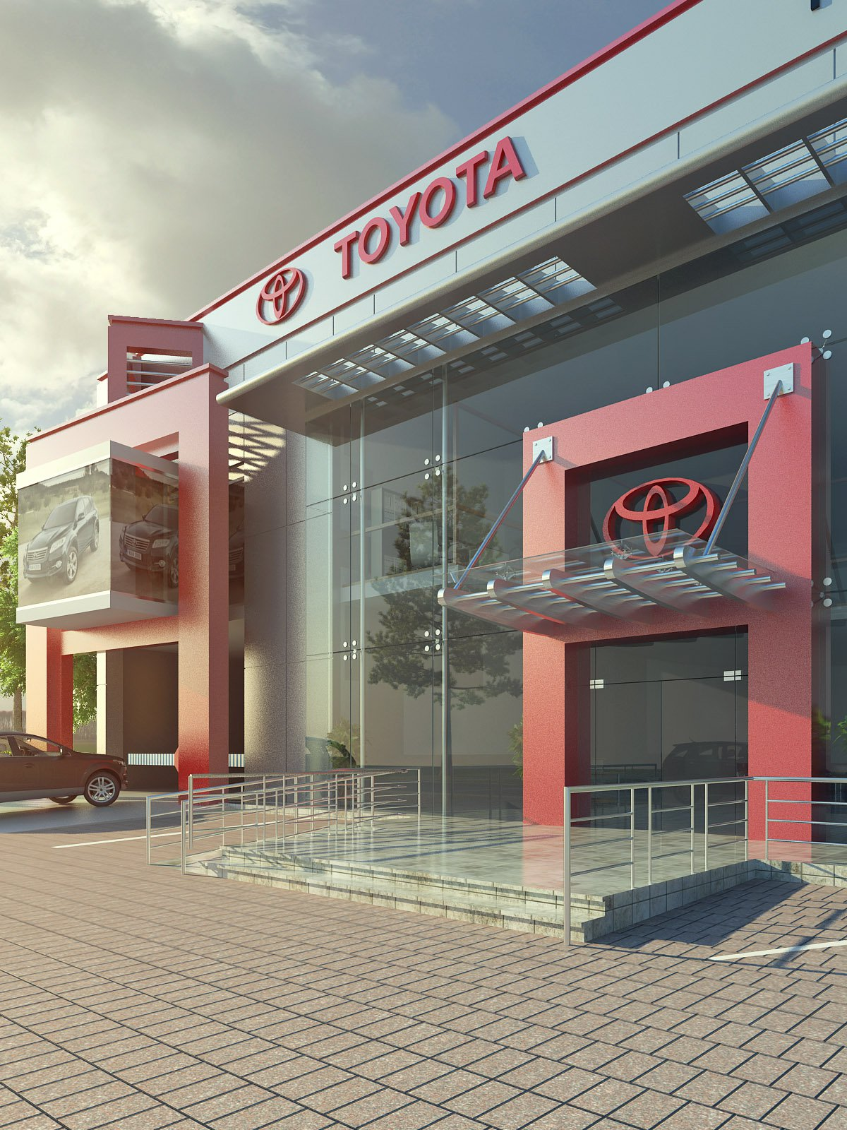 Front Elevation Of Furniture Showroom : Toyota cars showroom d architecture visualizations