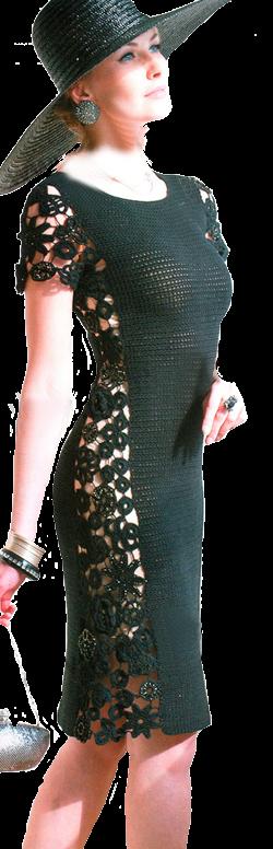 Удивительно женственное черное платье со вставкой, связанное крючком