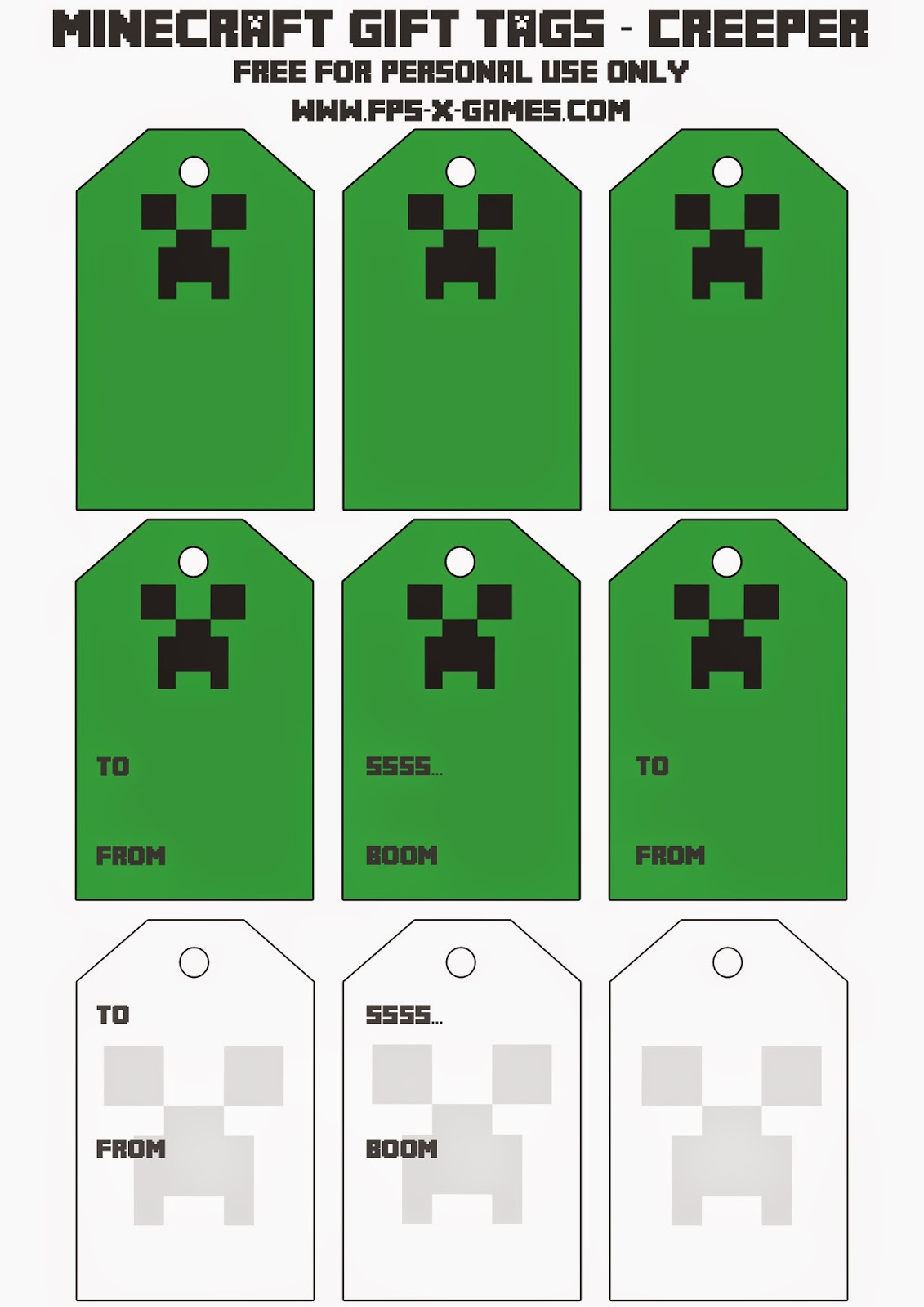 Free printable Minecraft Creeper gift tag