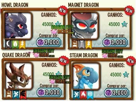 Novos Dragões de 3 Elementos