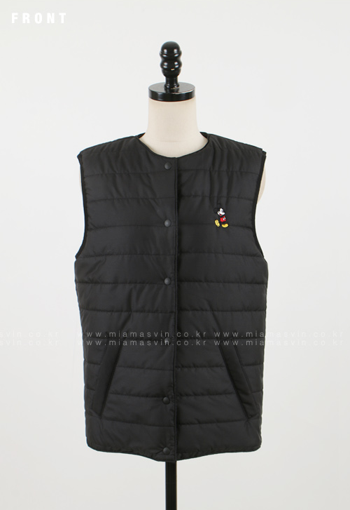 Padded Vest with Cartoon Embroidery