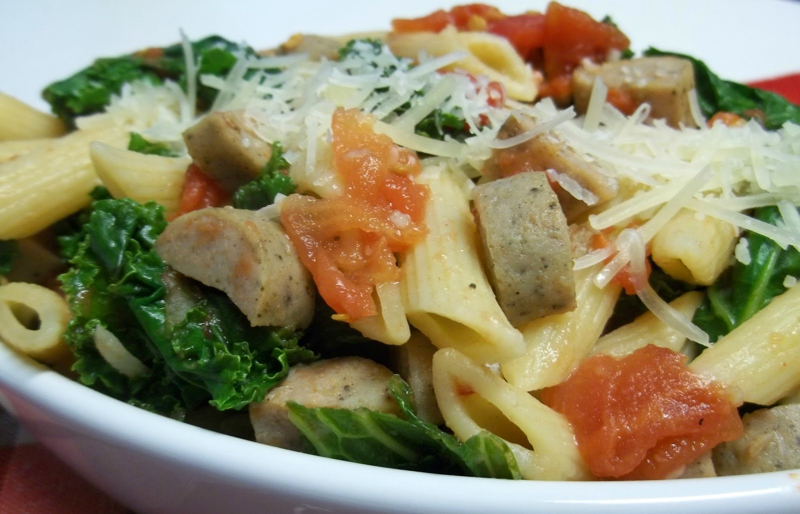 Chicken Sausage and Wilted Kale Pasta