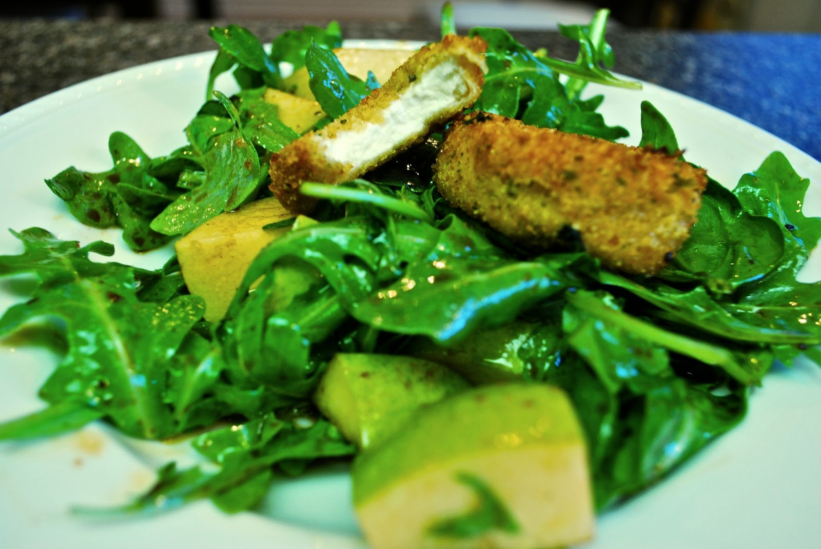 Fried Goat Cheese Salad with Pear and Arugula | Bevy Richmond