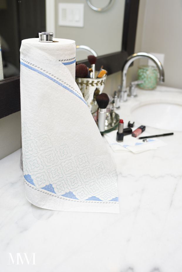 Keep a roll of heavy duty paper (and beautiful) paper towels in your bathroom to keep your countertops in fab shape!