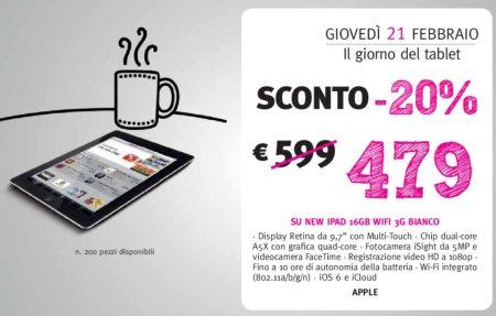 Sconto del 20% su tutti tablet il 21 febbraio 2013 da supermedia