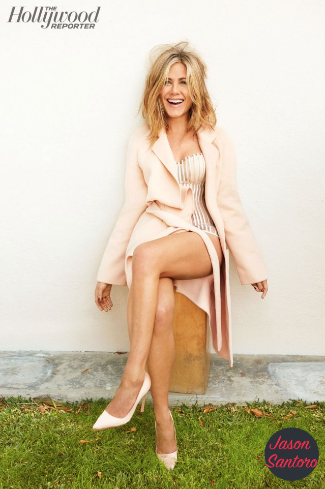 Jennifer Aniston shows off toned legs for The Hollywood reporter.