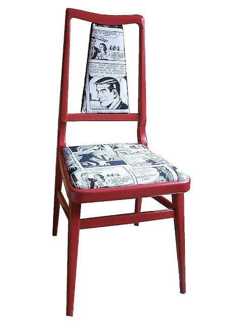 Telas cajas y tinajas silla tapizada con tela de c mic - Espuma para tapizar ...