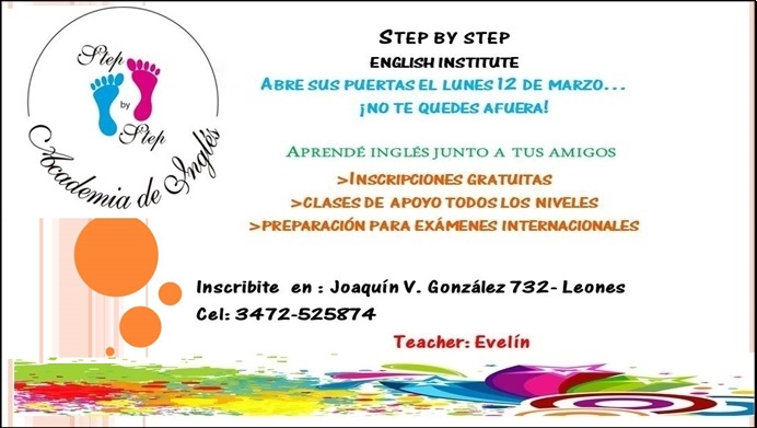 ESPACIO PUBLICITARIO: STEP BY STEP - ENGLISH INSTITUTE