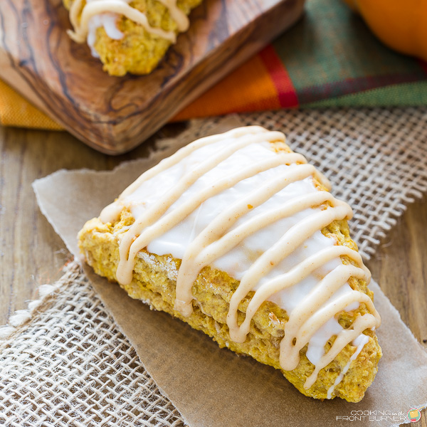 Pumpkin Scones with glaze | Cooking on the Front Burner