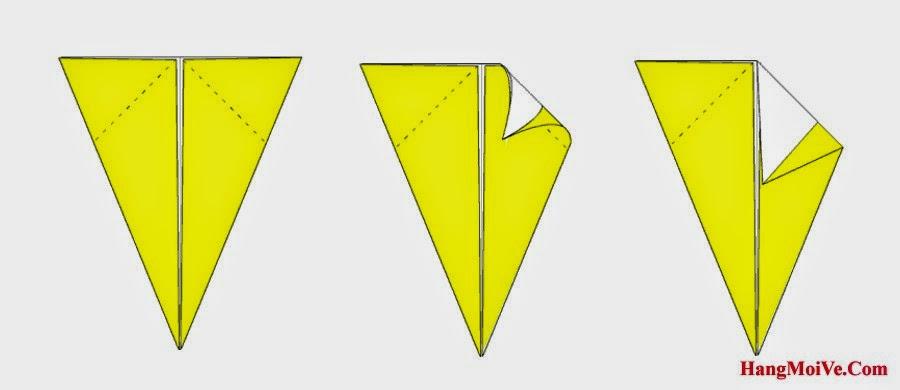 Bước 4: Gấp góc bên phải trên cùng của hình 1 xuống dưới (như hình 2) để tạo hình 3.