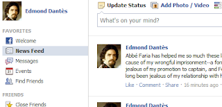 A facebook page for the fictional character Edmond Dantès.