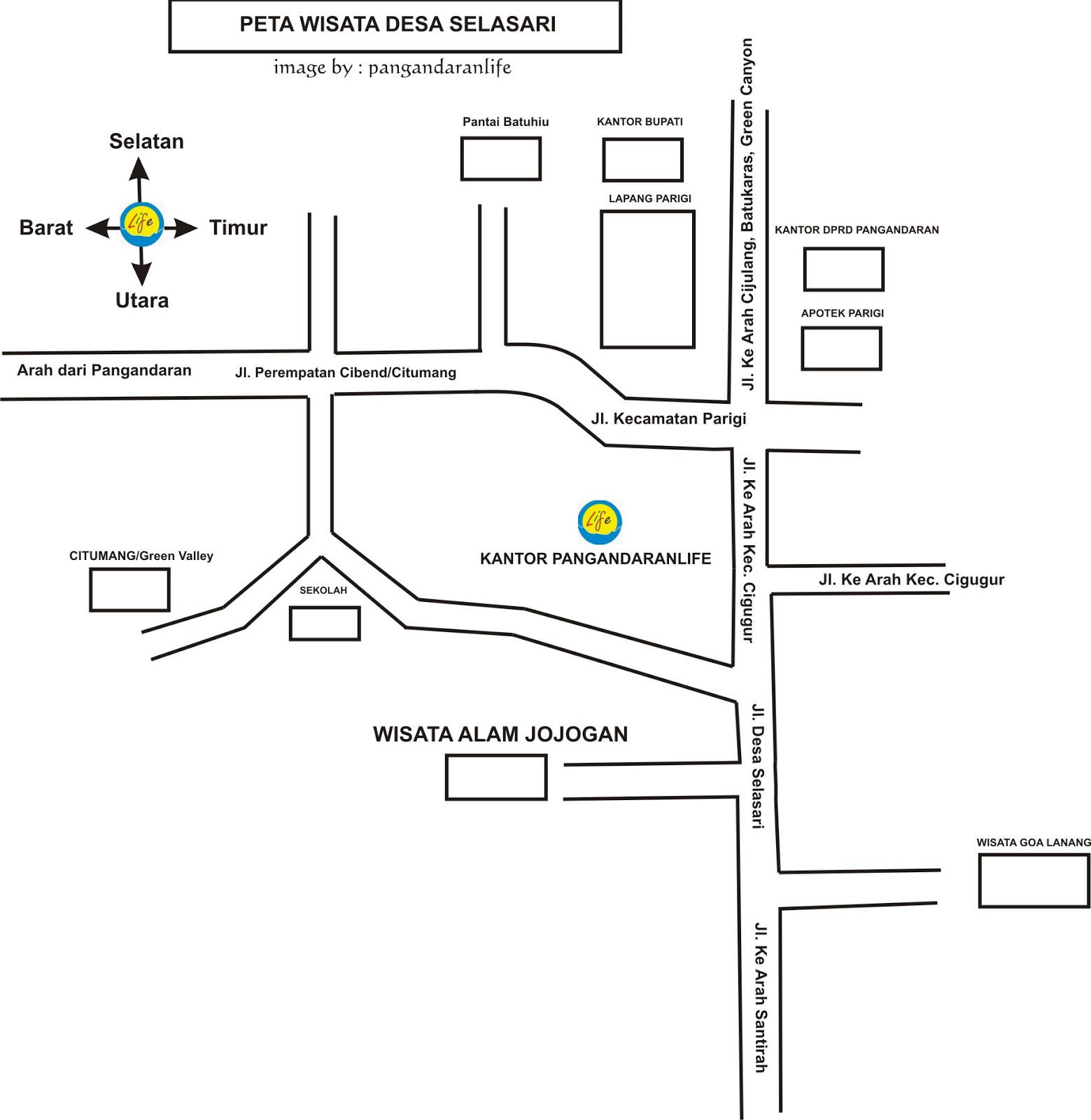 peta wisata desa selasari Kab. Pangandaran
