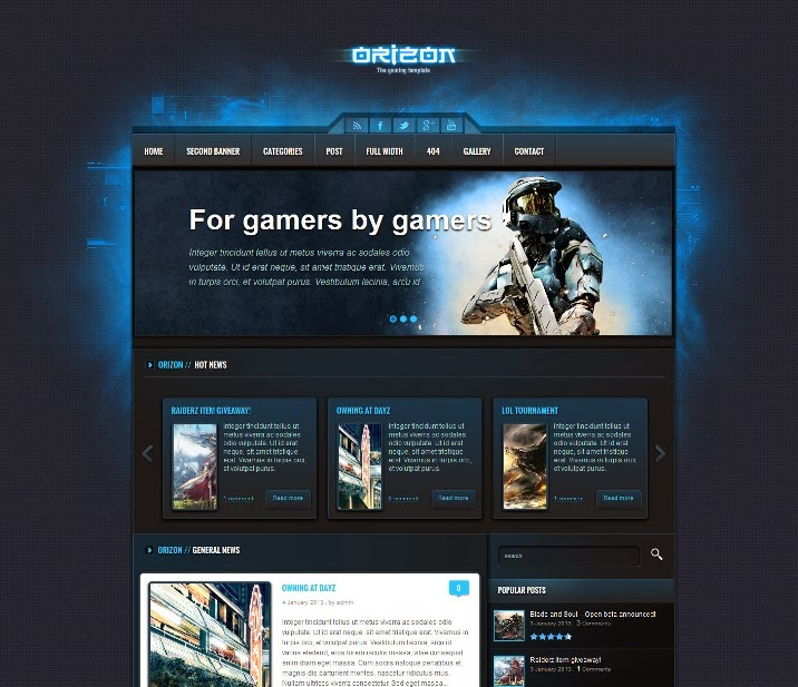 Orizon - The Gaming Template WordPress Version