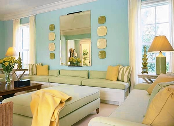 Baby green monday color cheerful bird 39 s egg for Yellow green living room ideas