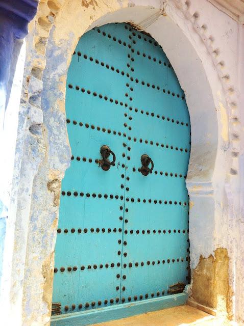 Turquoise door in Morocco