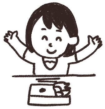 お弁当を食べる女の子のイラスト 白黒線画
