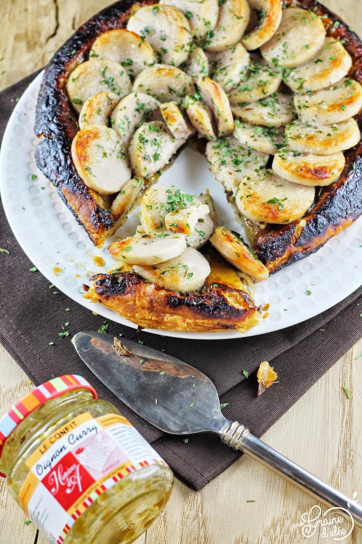 Tatin feuilletée Oignon Curry et Boudin blanc - Une Graine d'Idée