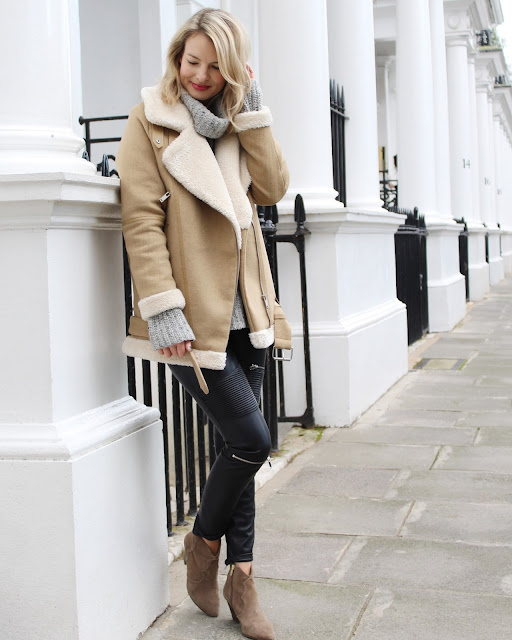 five piece wardrobe, shearling jacket, shearling aviator jacket, zara shearling jacket, zara aviator shearling jacket, leather pants, ash gang boots, cos jumper, cos chunky turtleneck