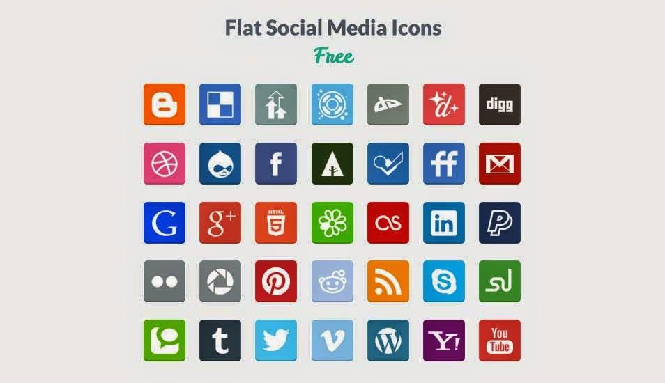 35 Beautiful Flat Social Media Icons