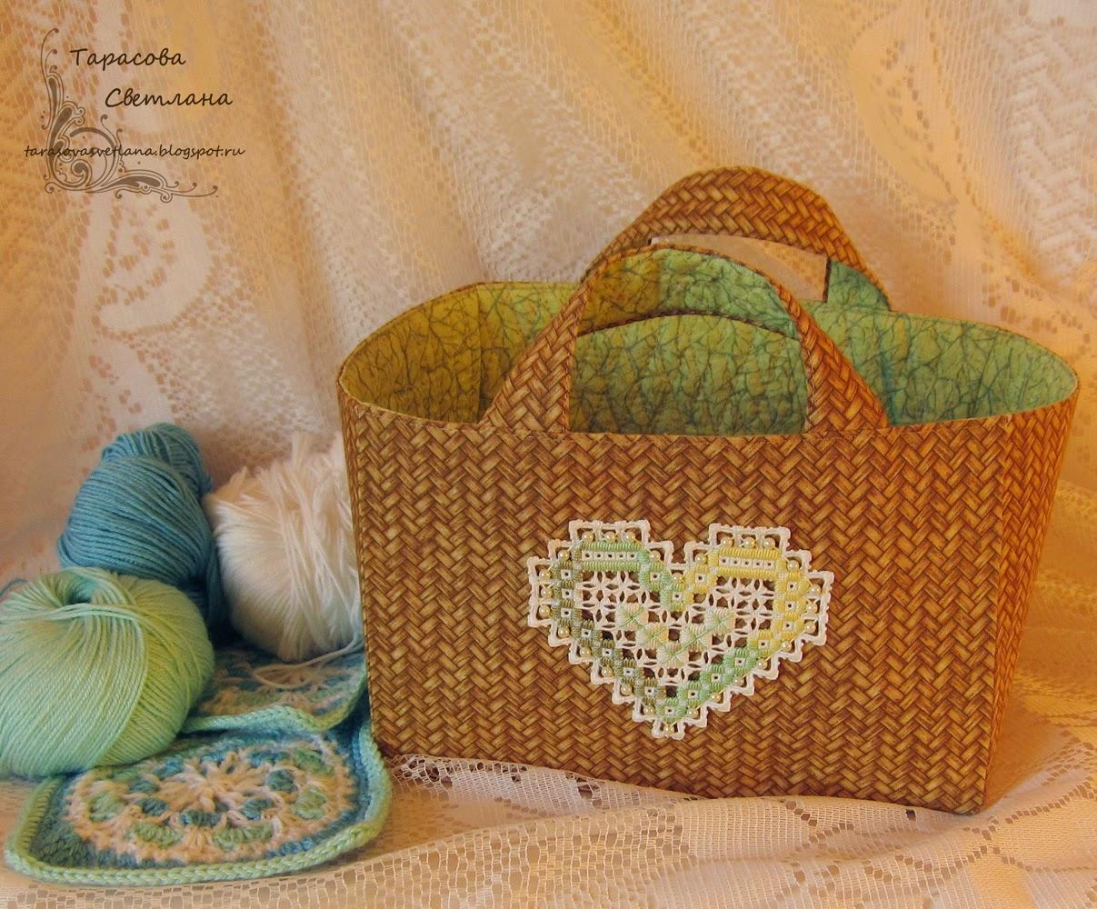 сумка-корзинка для рукоделия