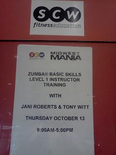 SCW Fitness Education Midwest Mania ZUMBA Basic Skills Level 1 Instructor Training with Jani Roberts and Tony Witt Thursday October 13 2011
