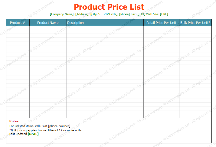 Doc480623 Sample Price List Template Price List Template for – Word Price List Template