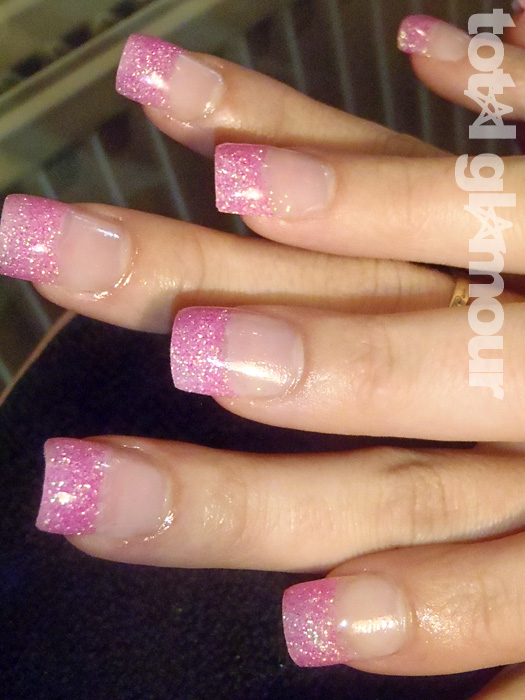Pink Glitter Acrylic Extensions