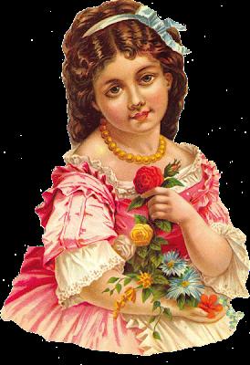 niña vintage con flores en formato png
