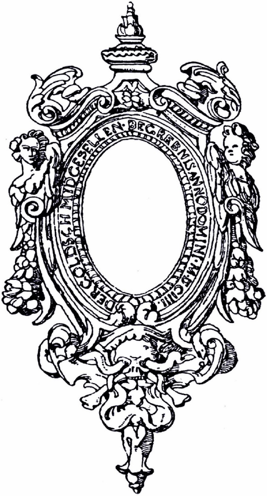 free printable ornate renaissance oval frame