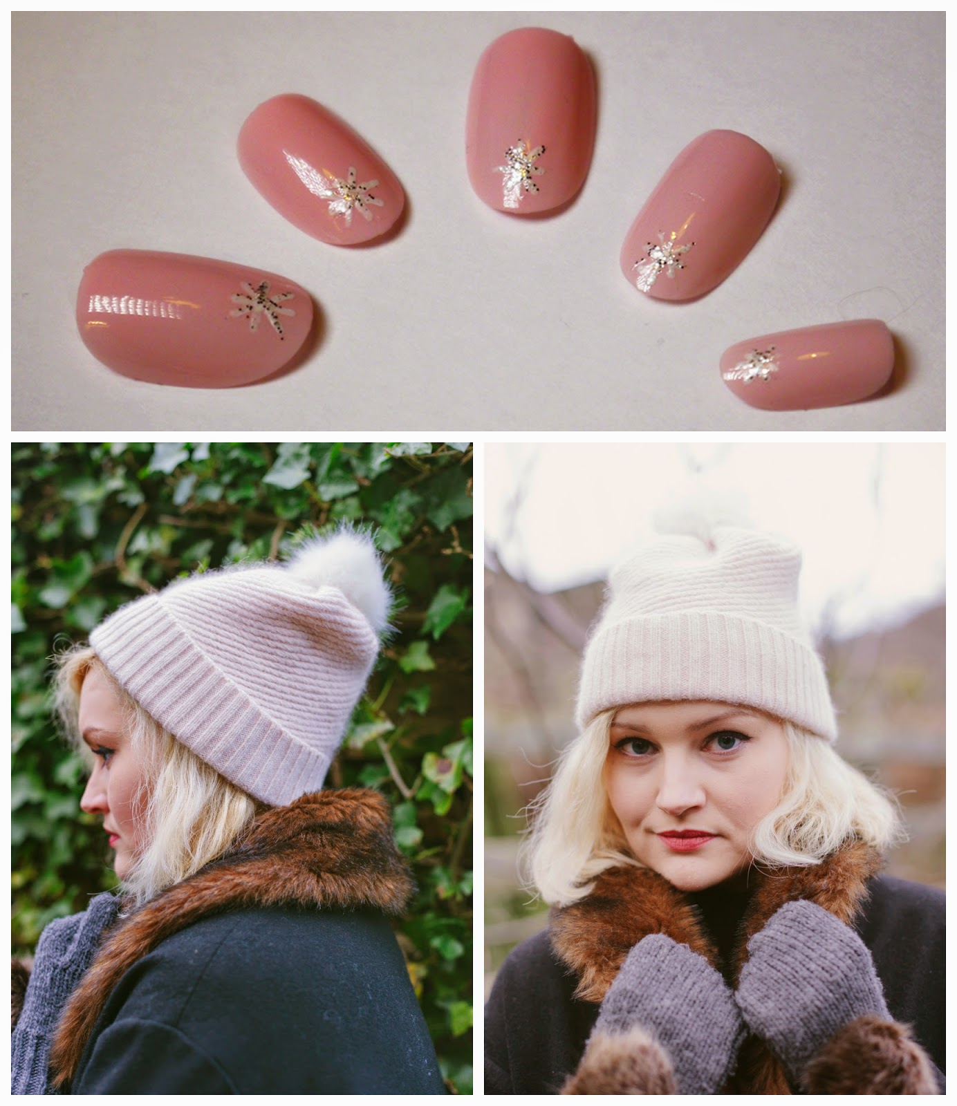 Pink nail art, nail art inspired by winter outfit, revlon pink pineapple