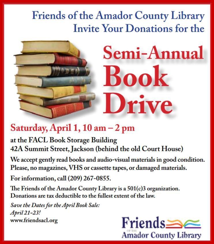 FACL's Semi-Annual Book Drive - Sat Apr 1