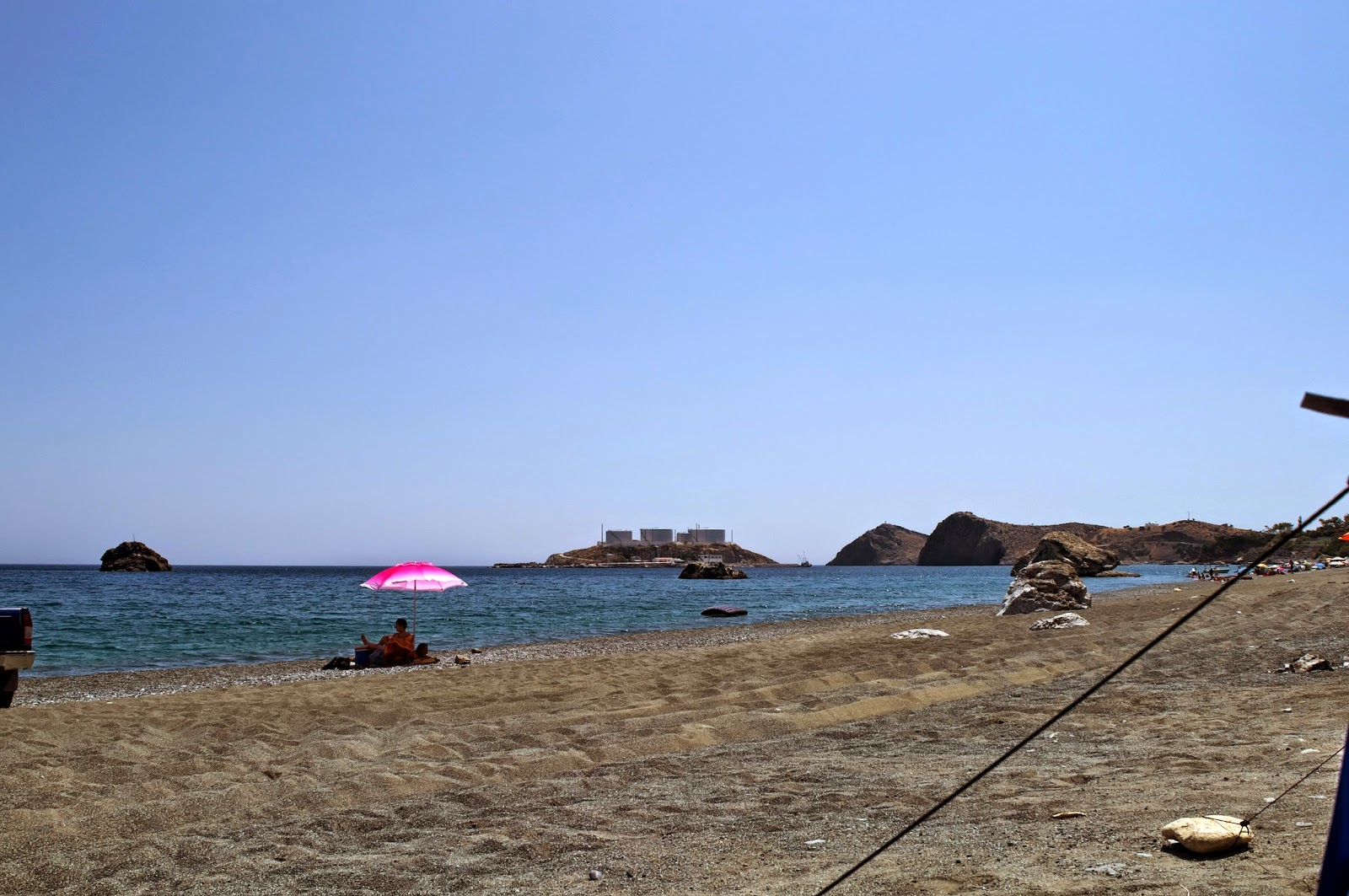 View of the beach south of the Crete, kaloi limenes in Greece.