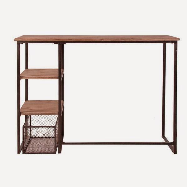 Mesa escritorio madera forja