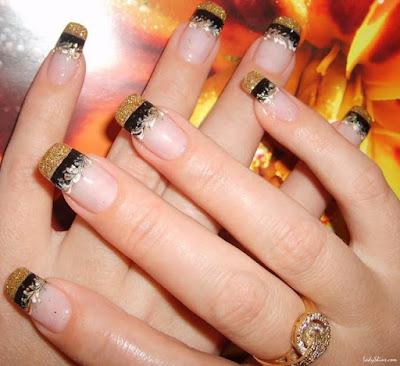 Decoración bonita y elegante para uñas largas